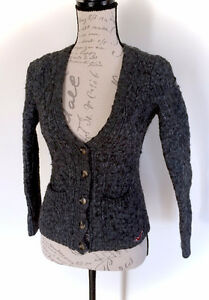 Hollister Wool Knit Grey Cardigan - Size Extra Small