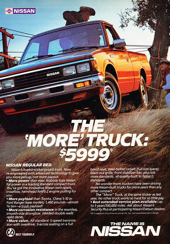 1985 Nissan Truck - Datsun reg bed - Classic Vintage Advertisement Ad H13