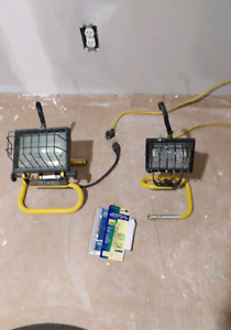 Two halogen work lights and spare bulbs