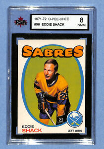 1971-72 O-Pee-Chee #96 Eddie Shack KSA Graded 8 Near Mint-Mint