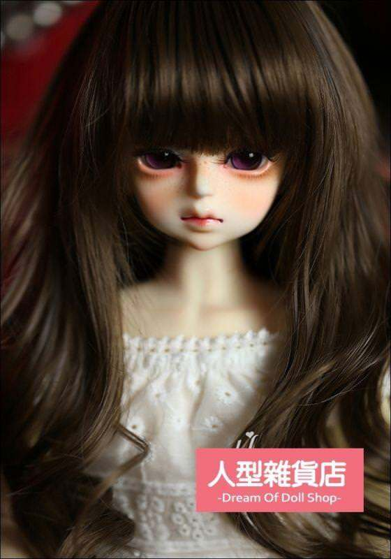BJD Doll 1//4 7-8 Wig Long Curly Wave Hair High Temperature Fiber for Girl Brown