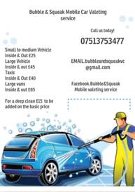 Mobile car valeting service