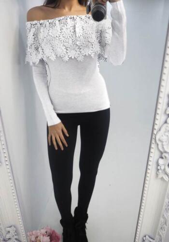 Fashion Women Lace Slim Off Shoulder Shirt Crop Tops Long Sleeve Blouse Sweater