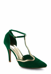 New green & gold stiletto heels - Size 6.5