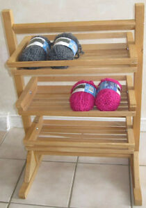 Solid Wood Three Tier Storage Rack