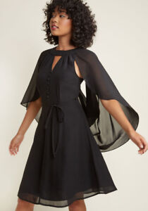 Icing on the Cape A-Line Dress in Black in XL Modcloth NEW