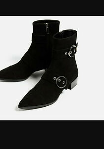 Zara buckle ankle booties like new size 38