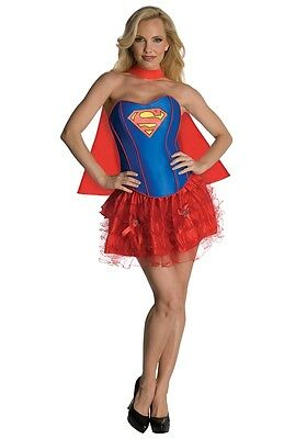 Superman Womens Costume (Sexy Supergirl Corset Adult Womens Costume Halloween)