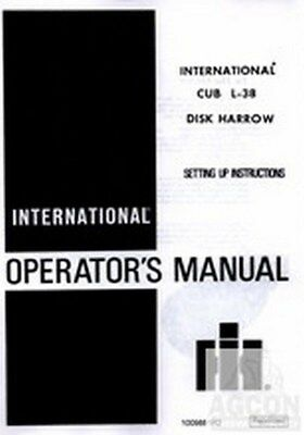 Farmall Cub L-38 Disk Harrow Tractor Operator Manual
