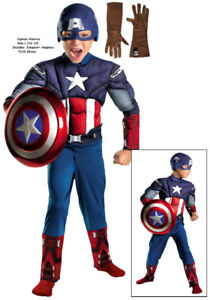 Captain America Muscle Costume + Gloves: Boys L (10-12) NEW