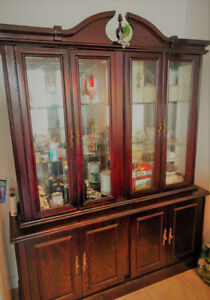 Oakwood Display Cabinet, Good Condition, $90