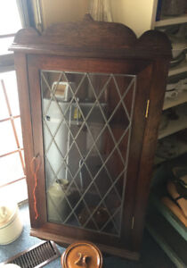 OLD KITCHEN CUPBOARD CORNER CABINET LEADED GLASS WITH KEY!