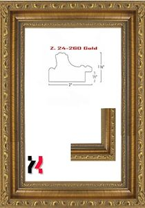 """Picture Frame Gold Ornate 2"""" Wide Solid Wood Size 16""""X20"""" Glass"""