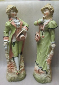 PAIR FIGURINES GERMAN FRENCH BISQUE M'LORD & M'LADY FIGURINES!