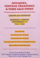 SAVE THE DATE!!! Come By Chance Antiques Yard Sale Sept.5&6