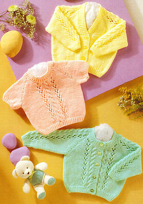 "Premature Baby Cardigan & Sweater Cable & Eyelet 12"" - 22""  DK  Knitting Pattern"