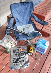OUTDOOR ITEMS-fold-up chair, 2 flashlights, fish lures, net, etc