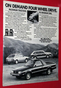 1982 SUBARU BRAT PICKUP AD WITH WAGON & HATCHBACK - ANNONCE 80S