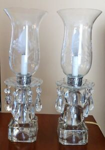 2 Vintages Crystal Hurricane Lamps Whit Teardrop Prisms