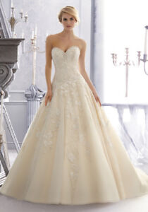 Mori lee strapless corset fitted wedding gown