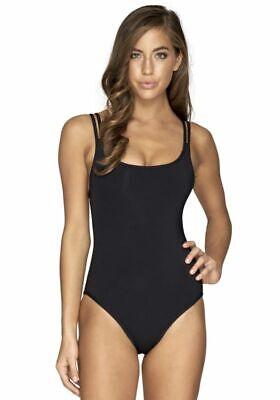Jets Australia by Jessika Allen Jetset Double Stripe Swimsuit Black Size 10 UK