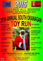 Penticton 28th Annual South Okanagan Toy Run Sunday Sept 20,2015