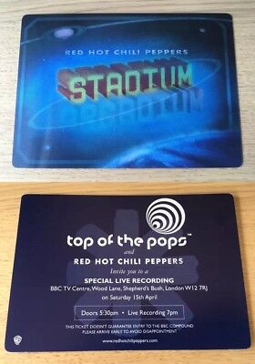 RED HOT CHILI PEPPERS Rare Lenticular Ticket Invite TOP OF THE POPS UK TV Promo