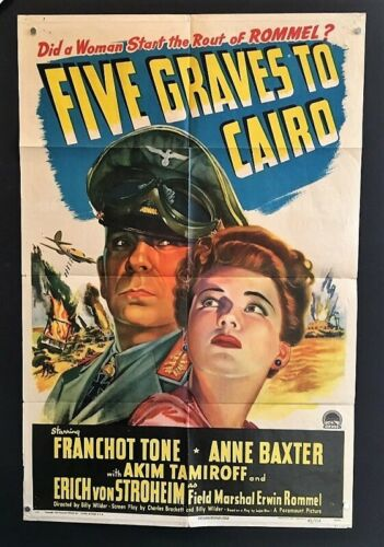 Five Graves to Cairo Movie Poster 1943    *Hollywood Posters*