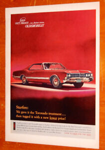 1966 OLDSMOBILE STARFIRE RED VINTAGE CAR AD - ANONCE RETRO