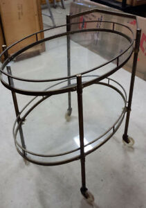 Mid century modern oval 2 tier tempered brass serving cart