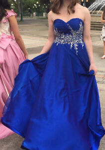 Blue Strapless Grad/Prom Dress with Corset Back