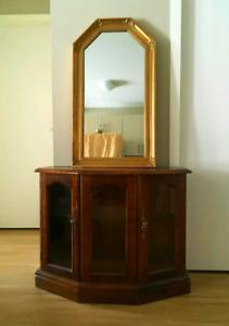 Antique Curio Cabinet With Mirror