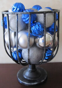 Footed Black Iron Planter Full Of Christmas Balls
