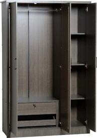 AVAILABLE TODAY New Dark Grey 3 door wardrobe with mirror & locking drawer £235