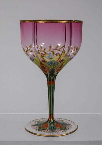 Lobmeyr Finely Enameled Art Nouveau Wine Glass - Circa 1890