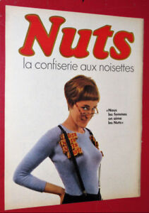 FRENCH 1967 NUTS CANDY BAR VINTAGE AD - ANONCE CONFISERIE NOIX