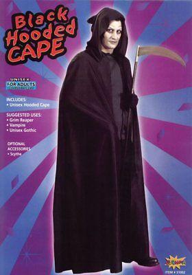 Black Hooded Cape Scream Grim Reaper Halloween Fancy Dress
