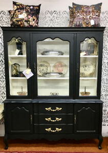 Black Hutch/Buffet China Cabinet
