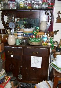 large Antique Kitchen cupboard Cabinet Sideboard w Mirror top