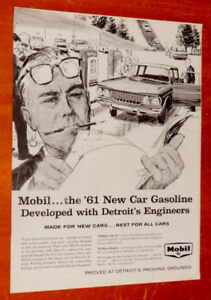 1961 MOBILGAS GAS STATION AD WITH RAMBLER CLASSIC ANONCE RETRO