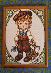 Vintage Needlepoint Framed Picture - Boy With Bunny & Pinwheel