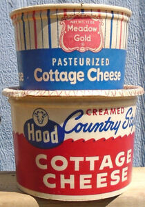 VINTAGE 1950-60's COTTAGE CHEESE CARTON CONTAINERS - LOT OF 2