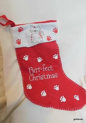 Red and White Felt Kitty Cat Christmas Stocking with Paw Prints (Purr Fect Cat Stocking)