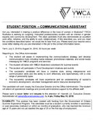Job Opportunity - Summer Communication Assistant - Student