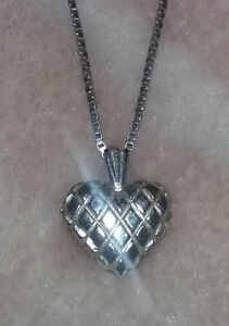 Gorgeous, Shiny Sterling Silver Heart & Chain, Both Sterling""
