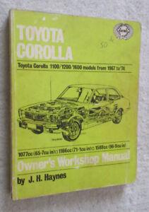 1967 to 1974 Toyota Corolla workshop manual 1100 1200 1600