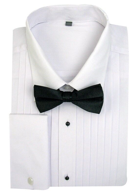 Men 39 S Tuxedo Dress Shirt Point Collar With Bow Tie French