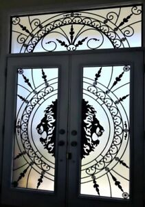 Glass inserts for front door stained glass wrought iron glass