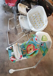 Two high chairs baby bath tub and swing
