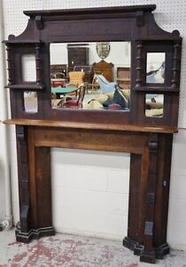 Antique Fireplace Surround Wood Mantle from Auction reduced